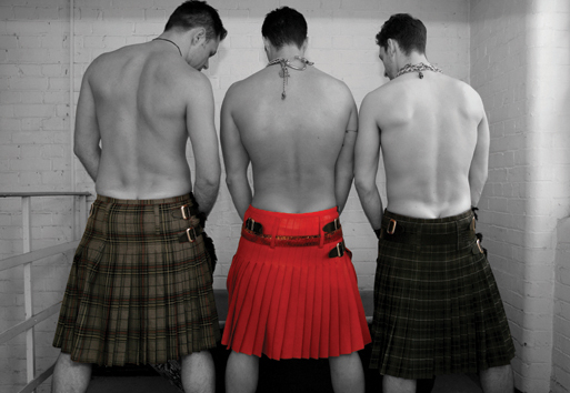 Three Kilts postcard