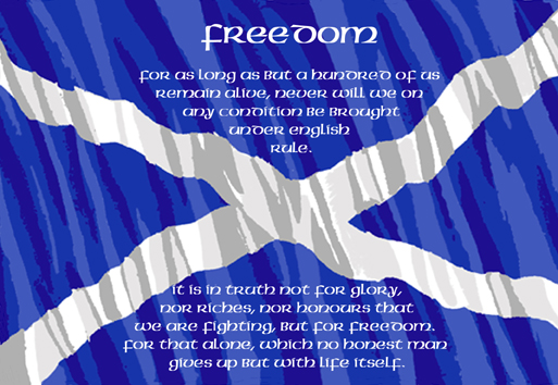 Declaration of Arbroath words on saltire postcard