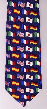 International flags silk neck tie
