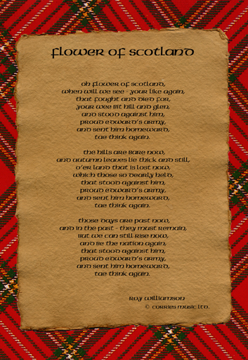 Flower of Scotland lyrics on parchment postcard