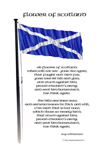 Flower of Scotland lyrics with Flagpole postcard