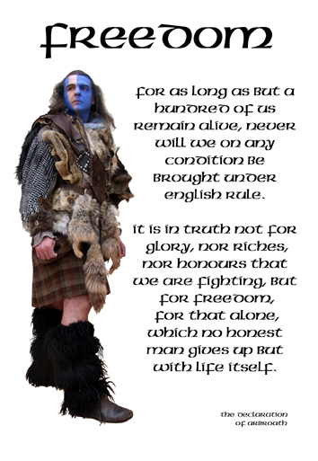 Freedom with Highlander postcard