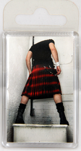Giant kilted man standing on sink fridge magnet