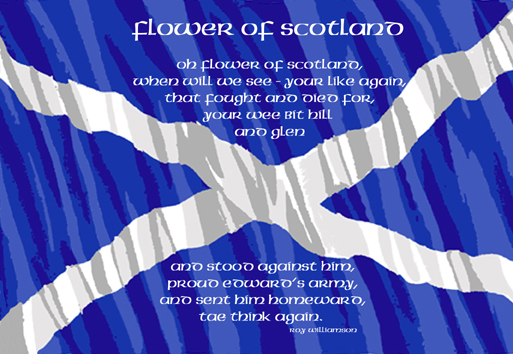 Flower of Scotland lyrics on Saltire postcard