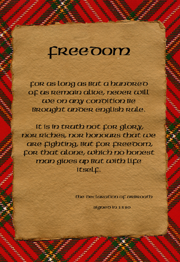 Freedom on parchment postcard