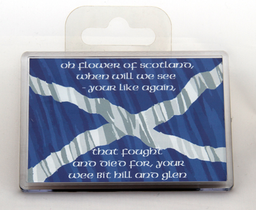 Giant fridge magnet with Flower of Scotland words