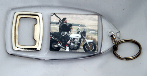 Piper on bike keyring / bottleopener