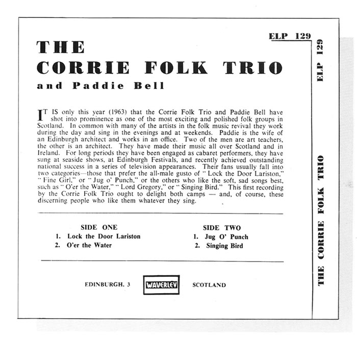Picture of The Corrie folk Trio's first recording